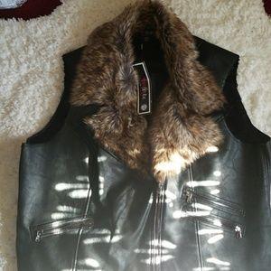 Plus size faux leather vest